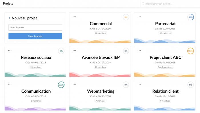 Visualisation des projets de l'entreprise